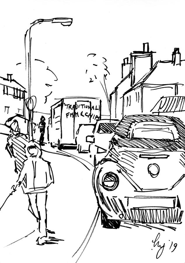 Scoffers fish and chips van in Exeter drawing by Mike Jory