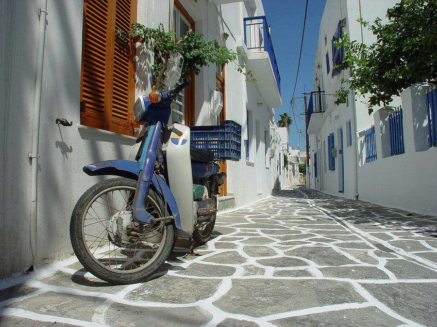 Scooter In Greek Street Photograph by Frankvandenbergh