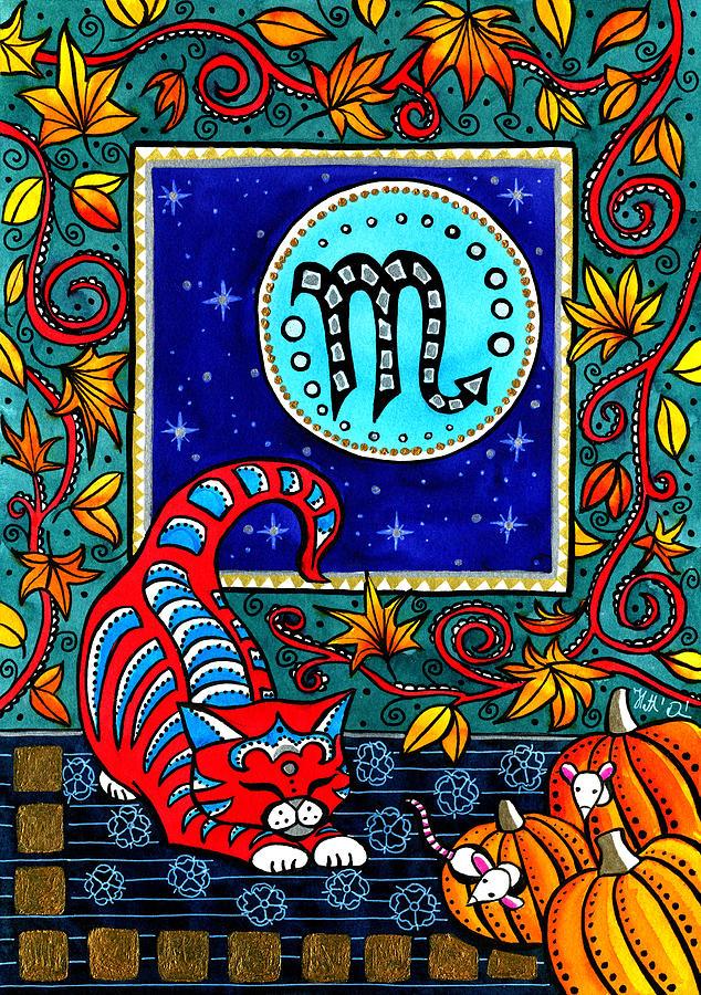 Scorpio Painting - Scorpio Cat Zodiac by Dora Hathazi Mendes