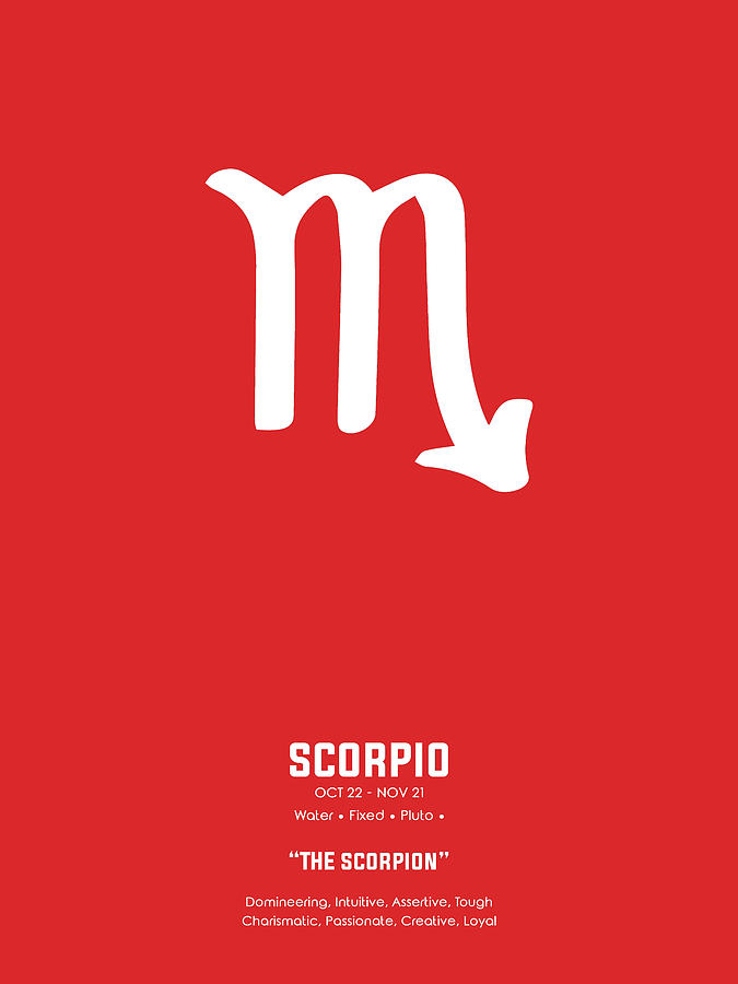 Scorpio Print - Zodiac Signs Print - Zodiac Poster - Scorpio Poster - Red  And White - Scorpio Traits