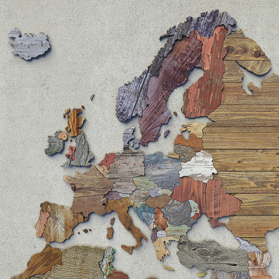Scrapwood map of Europe by Frans Blok