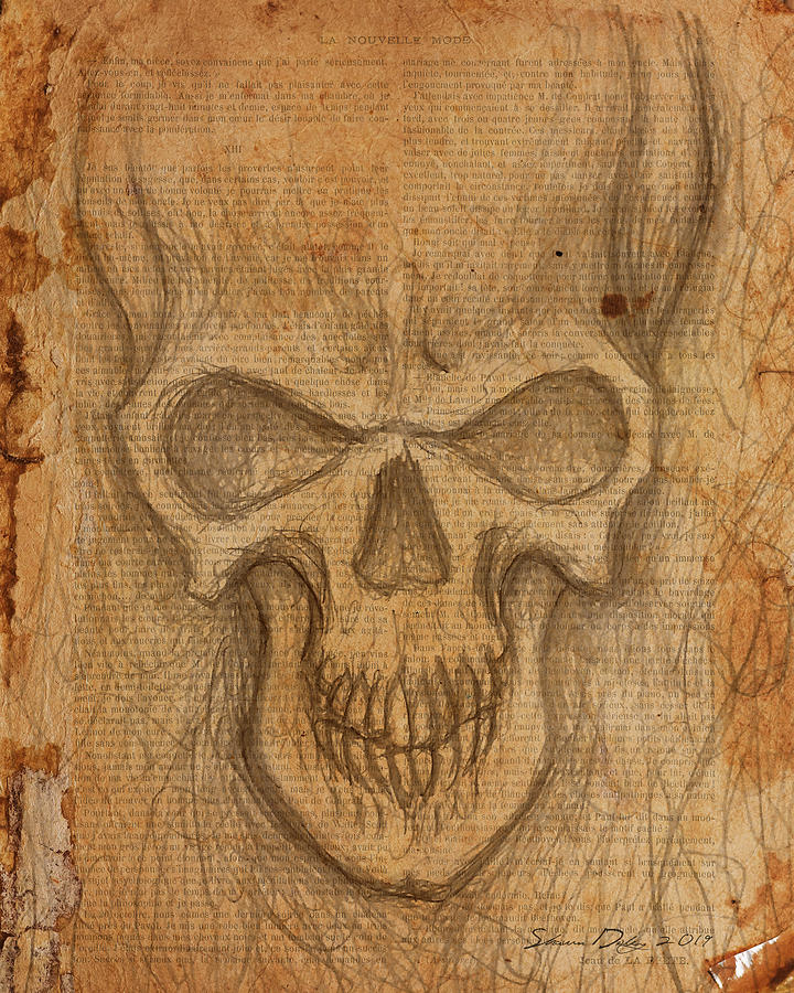 Skull Drawing - Scratch Skull by Shawn Dooley