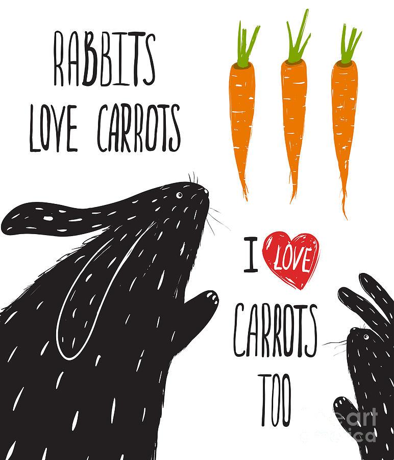 Love Digital Art - Scratchy Rabbits Love Carrots by Popmarleo