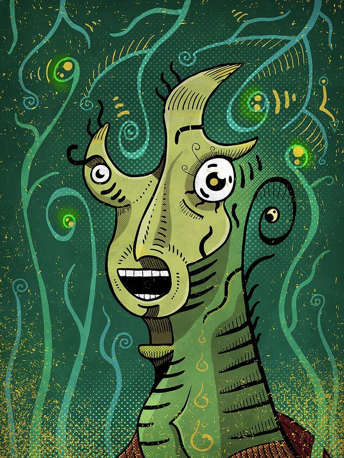 Shaman Digital Art - Scream by Sotuland Art