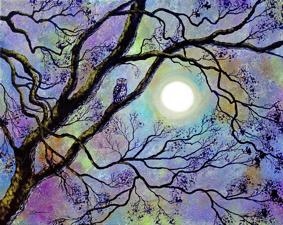 Screech Owl in White Oak Tree by Laura Iverson