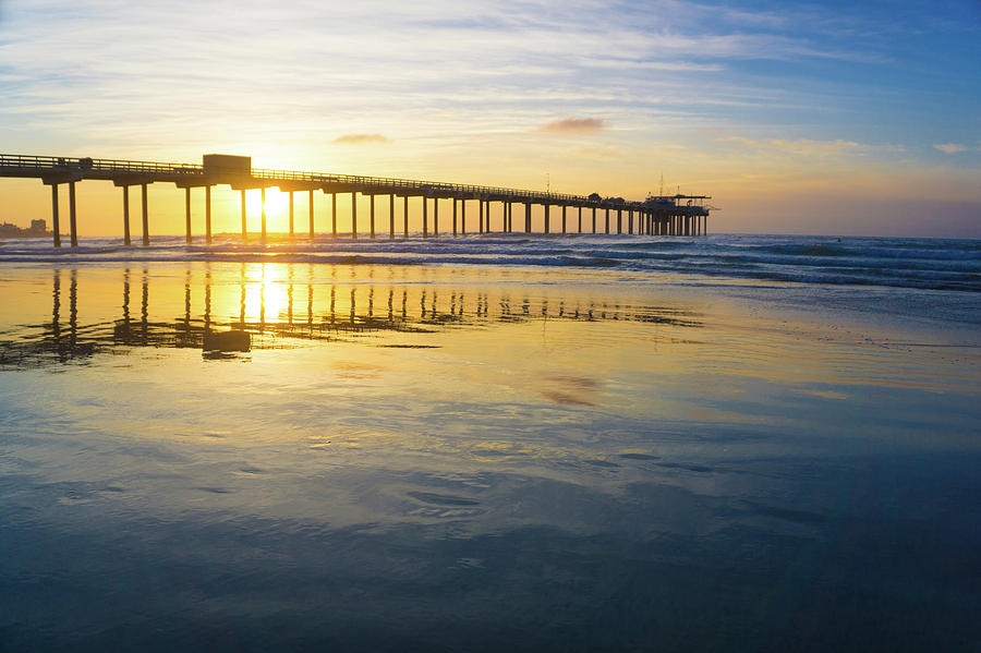 Surf Photograph - Scripps Pier Golden Hour 1 by Richard A Brown
