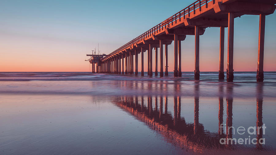 Scripps Photograph - Scripps Pier Sunset San Diego 16x9 Wide by Edward Fielding