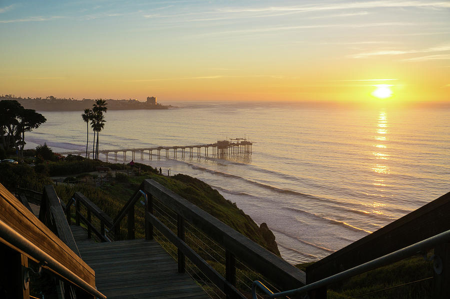 Surf Photograph - Scripps Sunset Stairway 2 by Richard A Brown