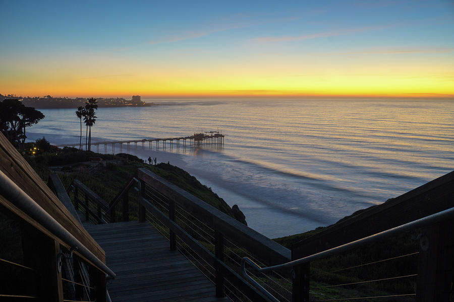 Surf Photograph - Scripps Sunset Stairway 3 by Richard A Brown