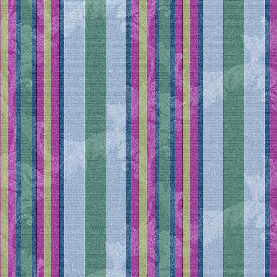 Pattern Digital Art - Scroll Stripe Periwinkle by Bill Jackson