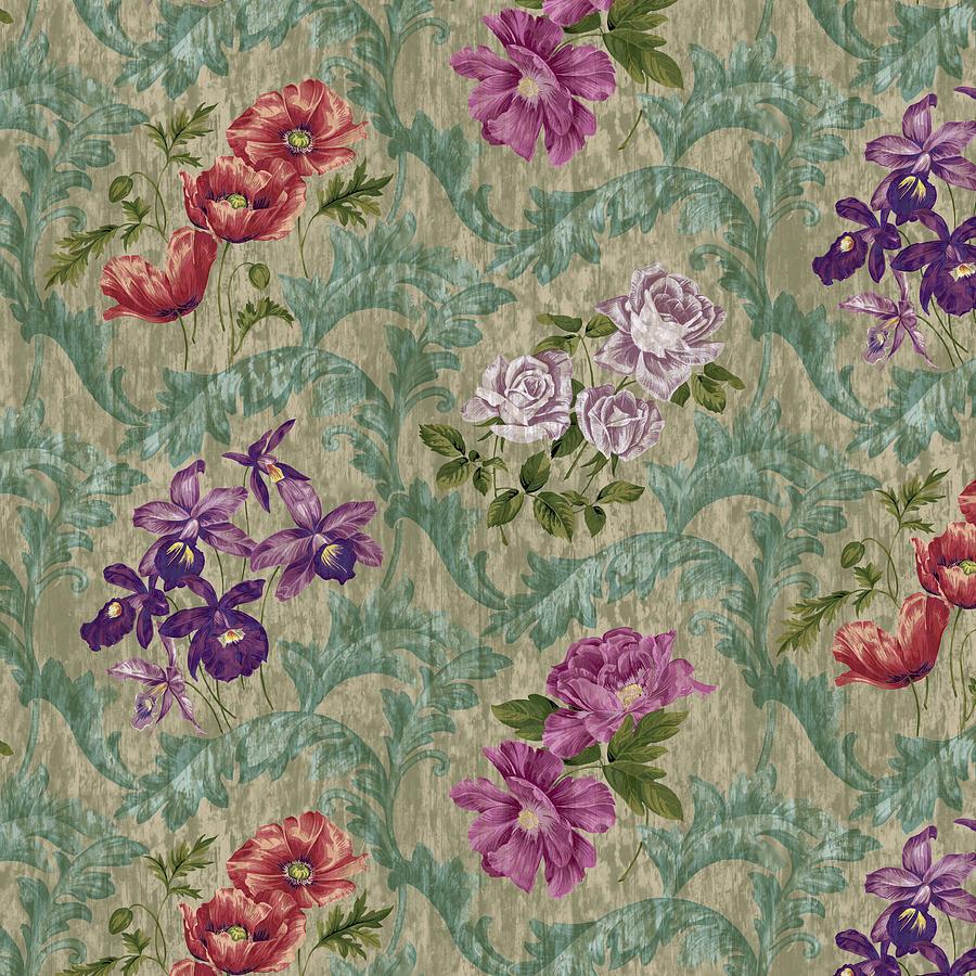 Flowers Digital Art - Scroll Velvet Striae Sage by Bill Jackson