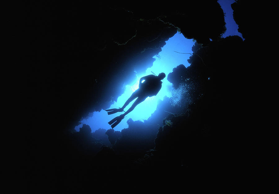 Scuba Diver Descends Through Chimney In Photograph by Stephen Frink