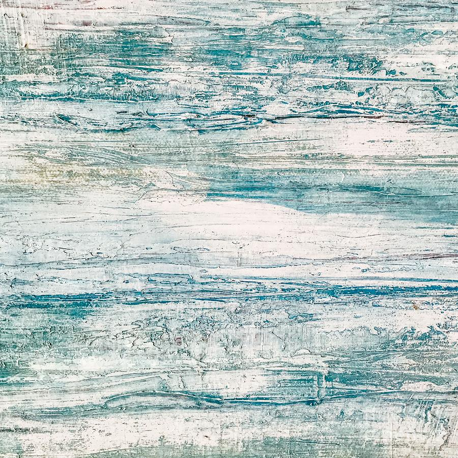 sea foam blue acrylic textured abstract painting by sheila wenzel
