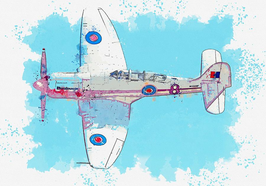 Sea Fury Fb 11 Naval Aircraft - War Thunder Deadnought Watercolor By Ahmet Asar Painting