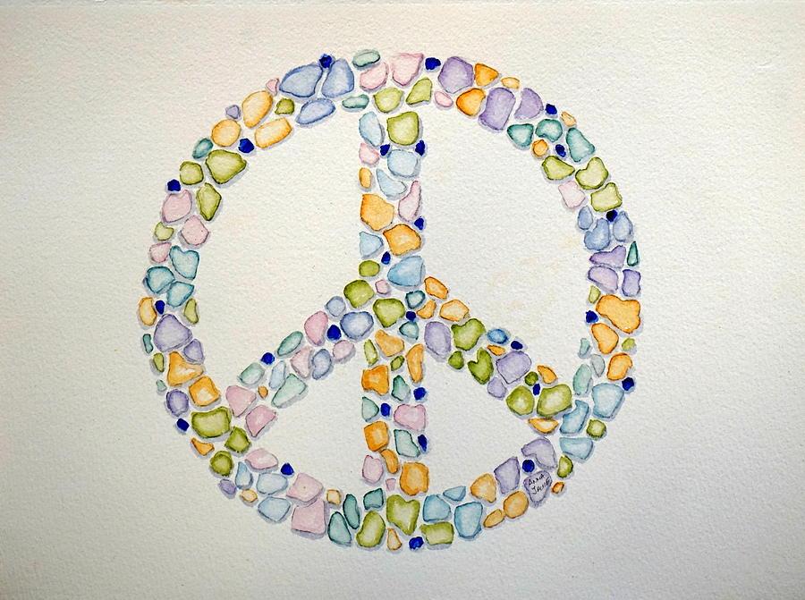 Sea Glass Peace Symbol by Anna Jacke