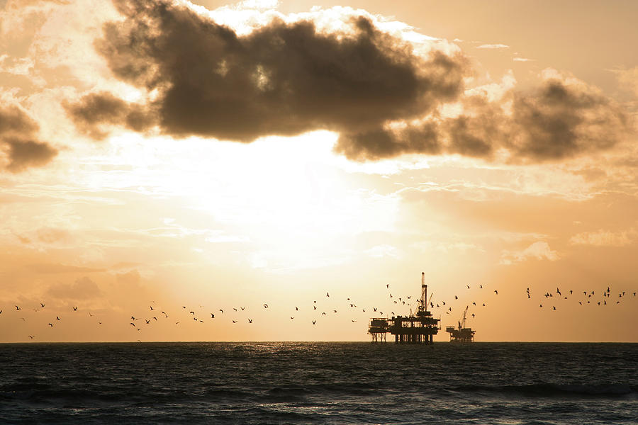Sea Gulls Fly In Front Of Oil Platform Photograph by Fauxcaster