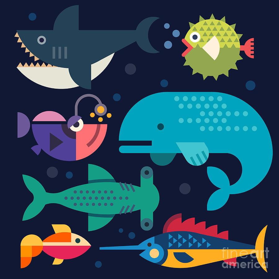 Specie Digital Art - Sea Life Big Fish Whale Shark by Beresnev