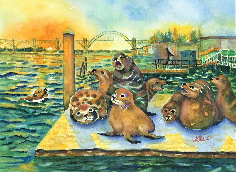 Sea lions @ Yaquina Bay by Ann Nicholson