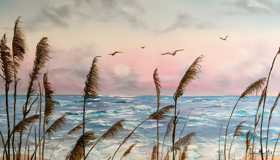 Sea Oats And Seagulls  by Sandra Day