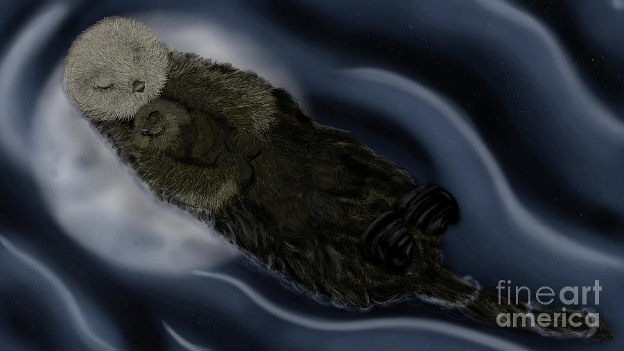 Sea Otter Baby and Mama - Moonlight Cuddle by Lisa Marie Ford