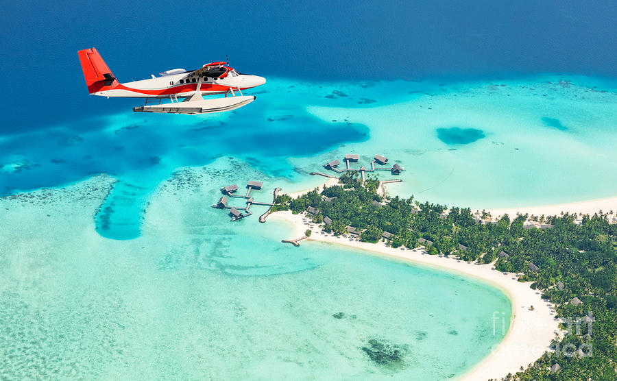 Plane Photograph - Sea Plane Flying Above Maldives Islands by Jag cz