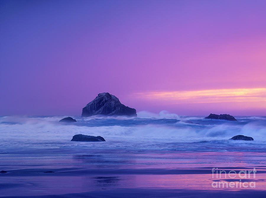 sea stack in storm bandon beach oregon by Dave Welling