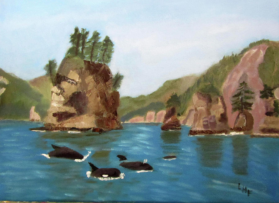 Sea Stacks and Orcas by Linda Feinberg