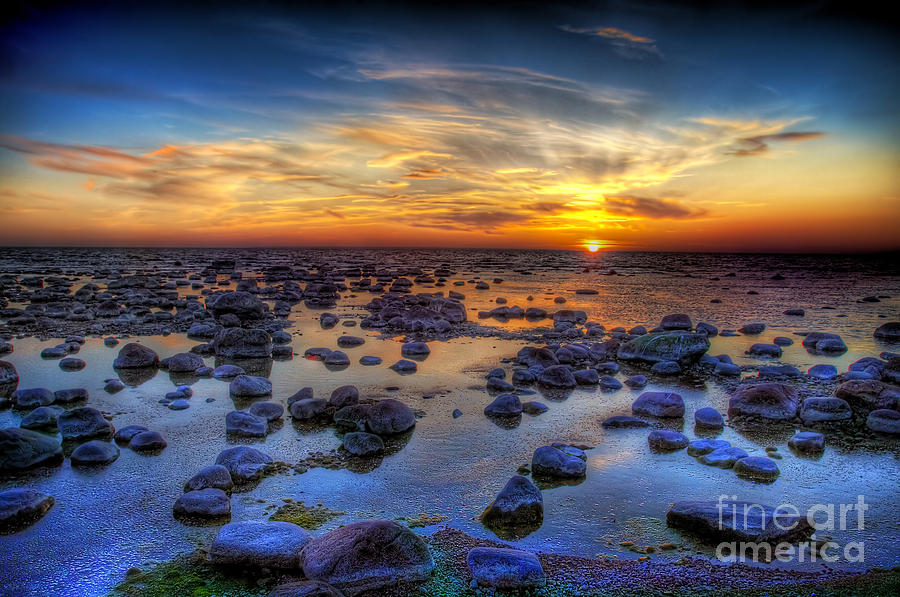 Tide Photograph - Sea Stones At Sunset by Deniss Dronin