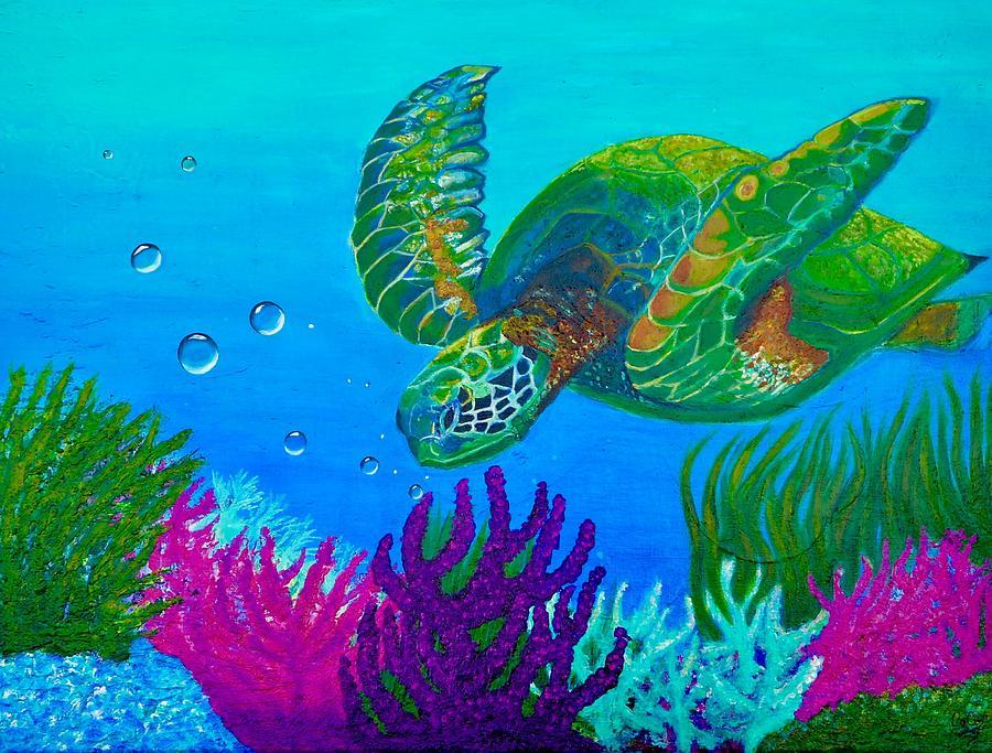 Mugs Painting - Sea Turtle  by Carol Matta