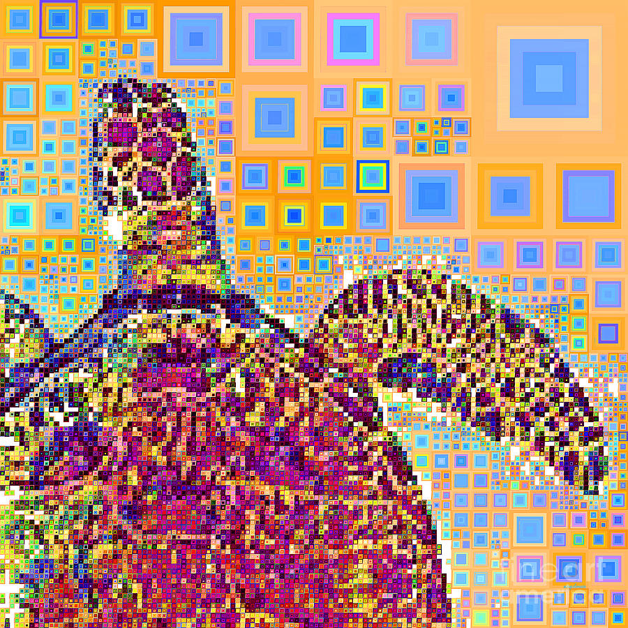 Sea Turtle in Abstract Squares 20190202sq by Wingsdomain Art and Photography