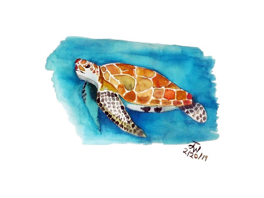 Sea Painting - Sea Turtle by Joyce Wasser