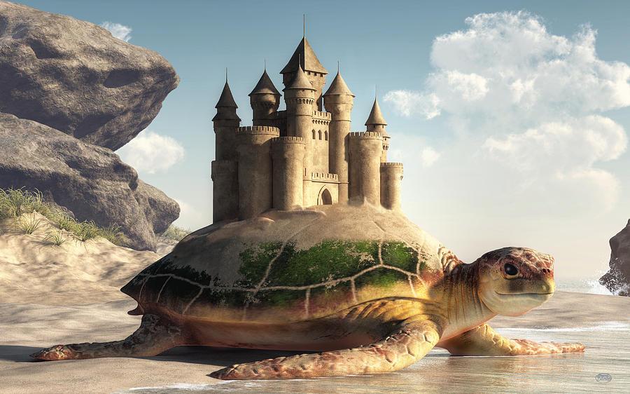 Sea Turtle, Sand Castle by Daniel Eskridge