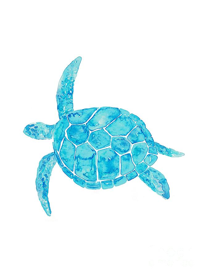 Sea Turtle Watercolor Art Painting By Maryna Salagub