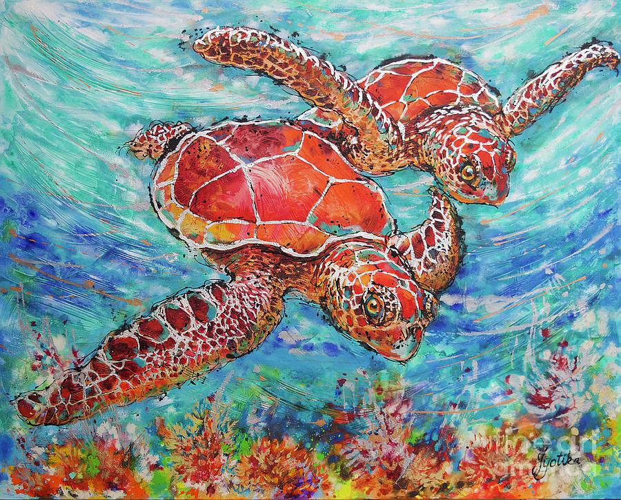 Sea Turtles on Coral Reef  by Jyotika Shroff