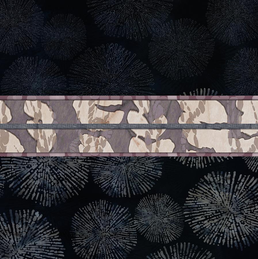 Sea Urchin Contrast Obi Print Digital Art