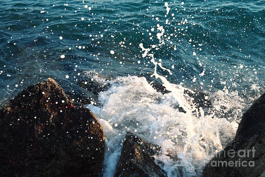 Beauty Photograph - Sea  Wave  Break On Stone,aegean by