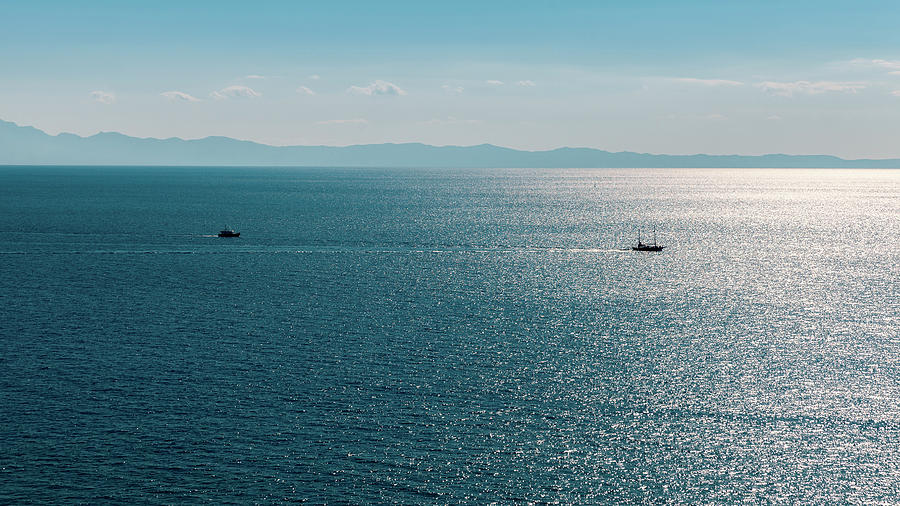 Sea Photograph - Sea With Two Boats by Dejan Jekic