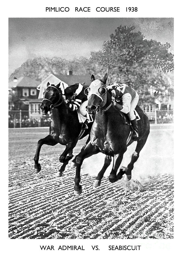 Seabiscuit Mixed Media -  Seabiscuit vs War Admiral, Match of the Century, Pimlico, 1938 by Thomas Pollart