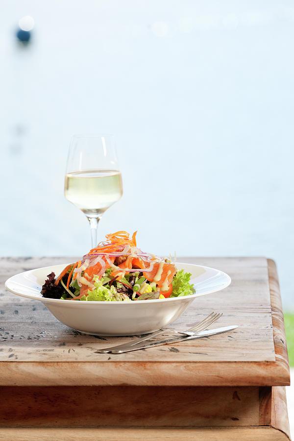 Seafood Salad With Smoked Salmon On Photograph by Pidjoe