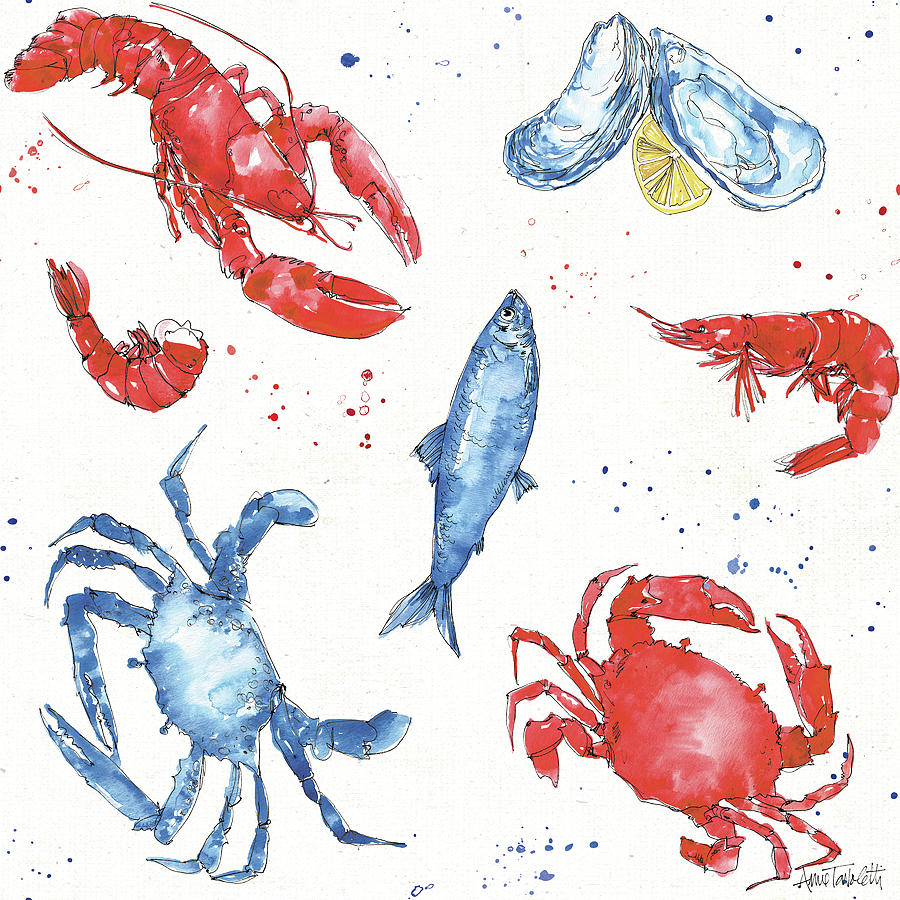Animals Painting - Seafood Shanty Step 08 by Anne Tavoletti