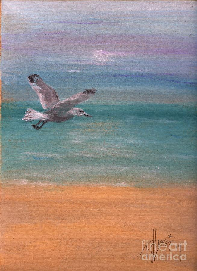 Beach Painting - Seagull At Dusk by PJ Lewis