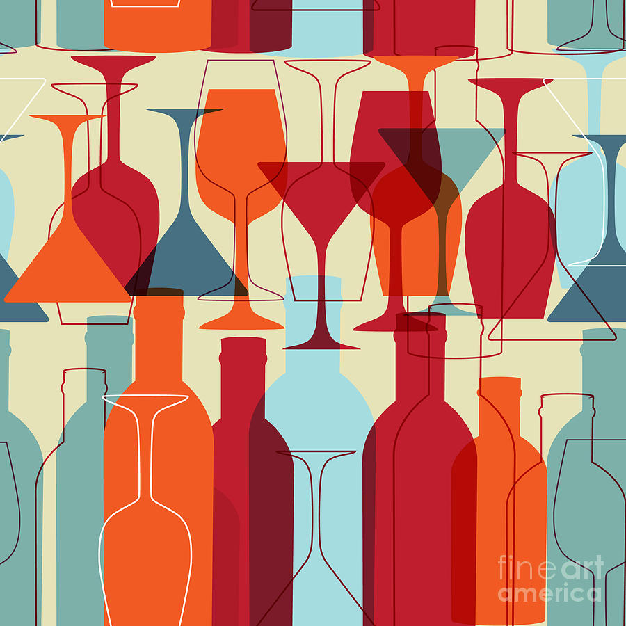Symbol Digital Art - Seamless Background With Wine Bottles by Mcherevan