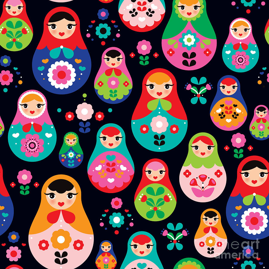 Craft Digital Art - Seamless Colorful Retro Russian Doll by Maaike Boot