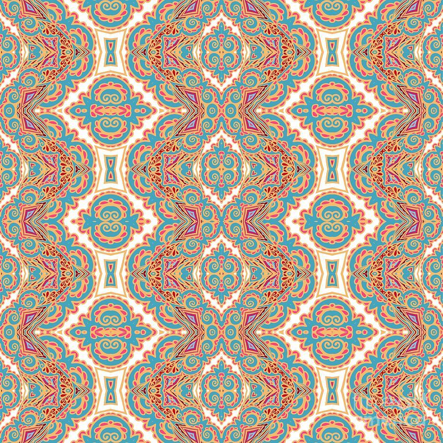 Vignette Digital Art - Seamless Decorative Pattern by Aniana