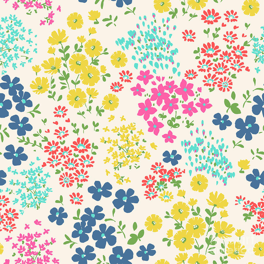 Seamless Ditsy Floral Pattern In Vector Digital Art By Indipixi
