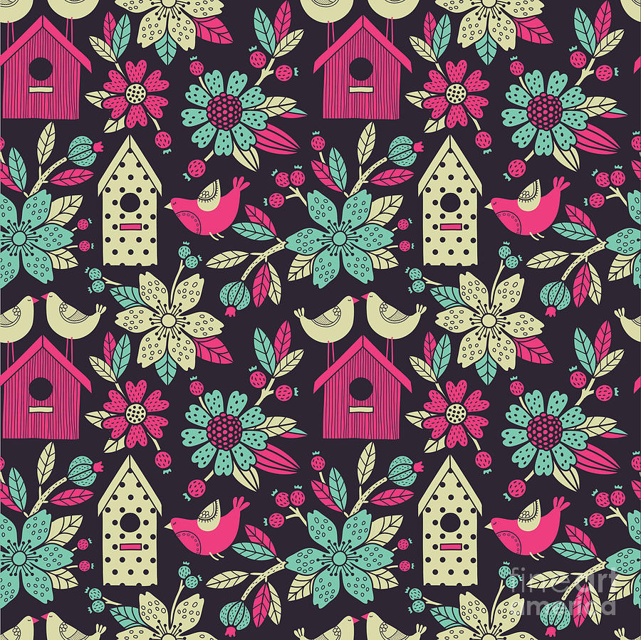 Beauty Digital Art - Seamless Floral Pattern With  Birdhouses by Tets