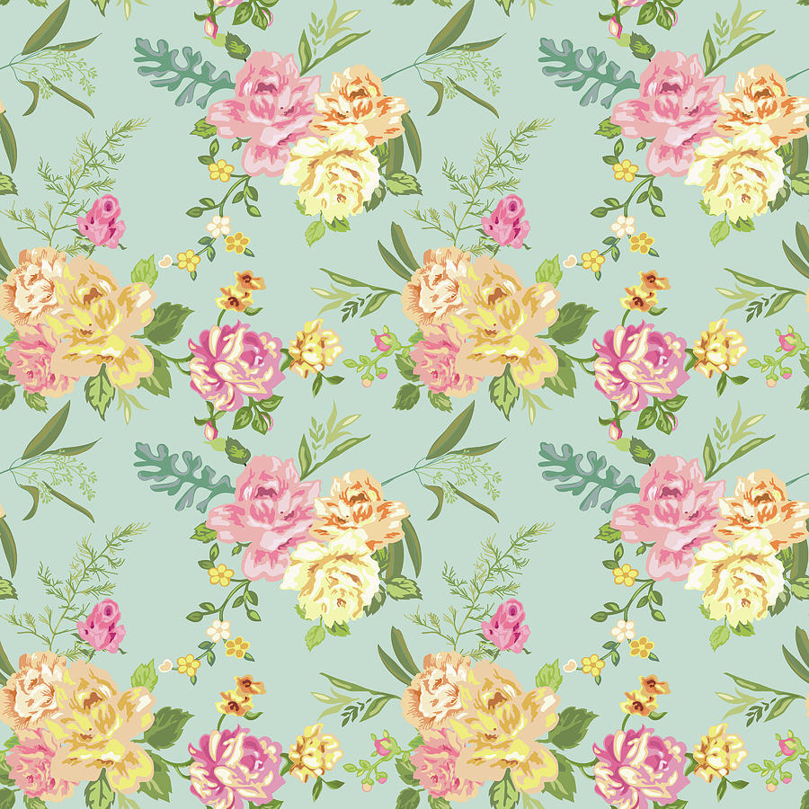 Seamless Flower Background Shabby Roses Pattern In Vector