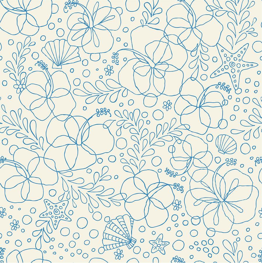 Seamless Hibiscus Floral Pattern Digital Art by Gelatoplus