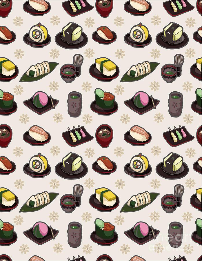 Wasabi Digital Art - Seamless Japanese Food Pattern by Notkoo
