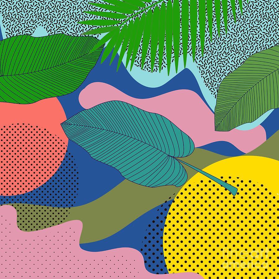 Seamless Pattern Leaves In Hipster Digital Art by Елена Верхотурова